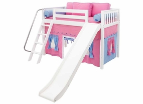 Sweet 28 Mid-Height Loft Bed with Slide and Curtain