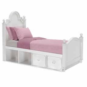 Sydney 2 Twin Bed with Drawer and Cubbies in White