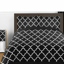 Trellis Black and White Comforter Set