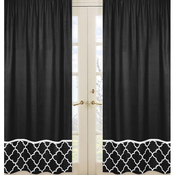 Black And White Toile Shower Curtain Black and White Trellis Panels