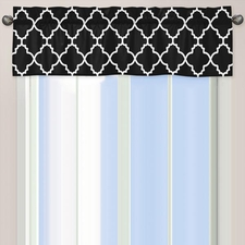 Trellis Black and White Window Valance