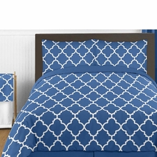 Trellis Blue and White Comforter Set