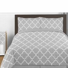 Trellis Gray and White Comforter Set