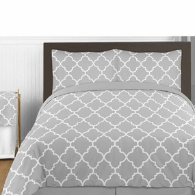 Trellis Gray and White Bedding Collection