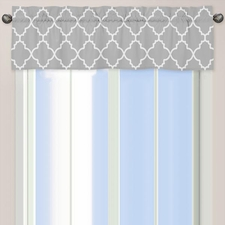 Trellis Gray and White Window Valance