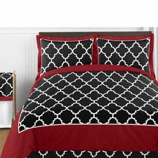 Trellis Red and Black Comforter Set