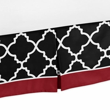Trellis Red and Black Full/Queen Bed Skirt