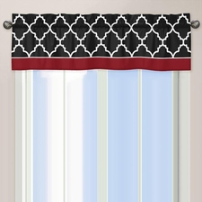 Trellis Red and Black Window Valance