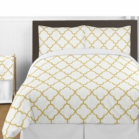 Trellis White and Gold Bedding Collection