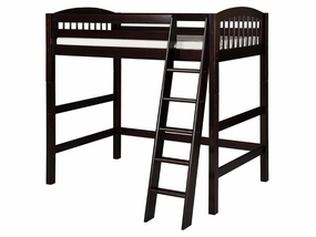 Twin Arch Spindle High Loft Bed in Cappuccino