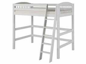Twin Arch Spindle High Loft Bed in White