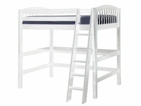 Twin Arch Spindle High Loft Bed with Desk Top in White