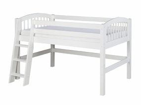 Twin Arch Spindle Low Loft Bed in White