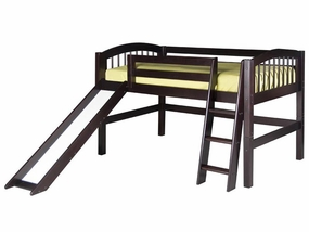 Arch Spindle Low Loft Bed with Slide in Cappuccino