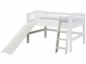 Twin Arch Spindle Low Loft Bed with Slide in White
