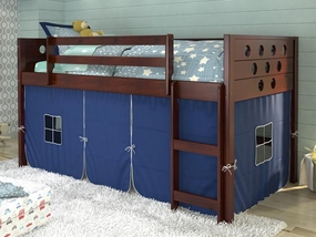 Twin Circles Low Loft Bed with Blue Curtain in Dark Cappuccino