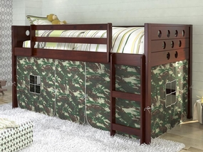 Twin Circles Low Loft Bed with Camo Curtain in Dark Cappuccino