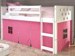 Twin Circles Low Loft Bed with Pink Curtain in White