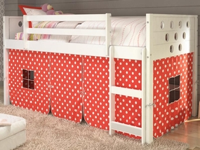 Twin Circles Low Loft Bed with Polka Dot Curtain in White