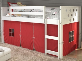Twin Circles Low Loft Bed with Red Curtain in White