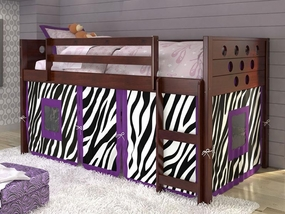 Twin Circles Low Loft Bed with Zebra Curtain in Dark Cappuccino