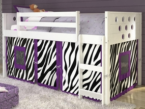 Twin Circles Low Loft Bed with Zebra Curtain in White