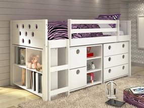 Twin Circles Modular Low Loft Storage Bed in White