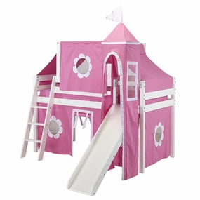 Jackpot Twin Loft Bed with Slide, Hot Pink/White Curtain, Tower and Top Tent