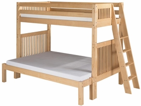 Twin/Full Mission Bunk Bed with Lateral Angled Ladder in Natural