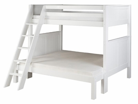 Twin/Full Panel Bunk Bed with Angled Ladder in White