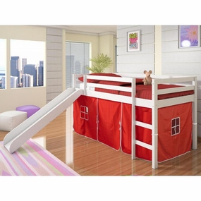 Twin Loft Bed with Slide and Red Curtain in White