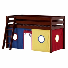 Jackpot Twin Loft Bed with Blue/Red/Yellow Curtain