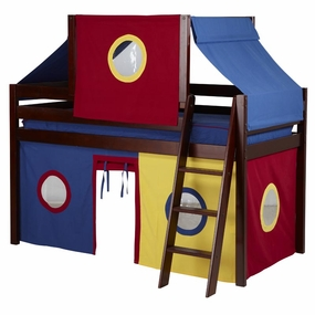 Jackpot Twin Loft Bed with Blue/Red/Yellow Curtain and Top Tent