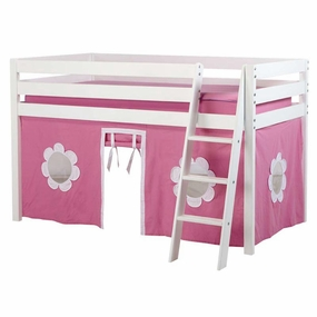 Jackpot Twin Loft Bed with Hot Pink/White Curtain