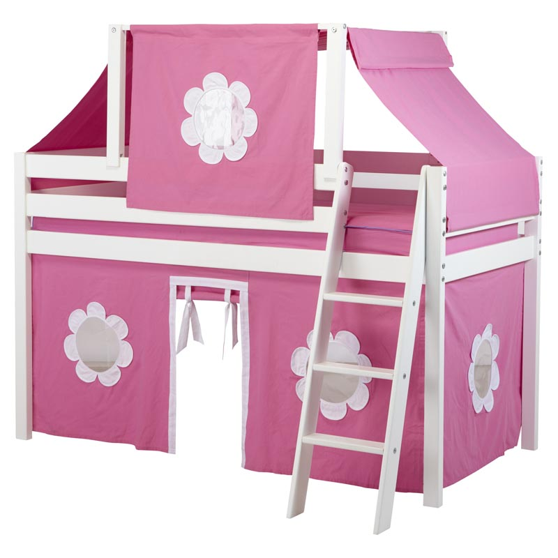 Twin loft bed with hot pink white curtain and top tent loft beds