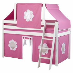 Jackpot Twin Loft Bed with Hot Pink/White Curtain and Top Tent