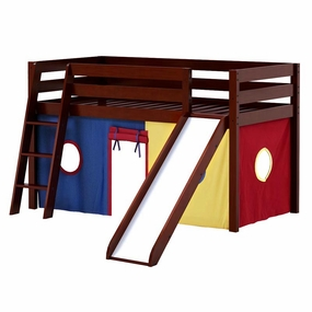 Jackpot Twin Loft Bed with Slide and Blue/Red/Yellow Curtain