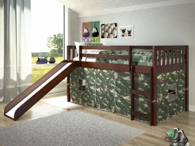 Twin Mission Loft Bed with Slide and Camo Curtain in Dark Cappuccino