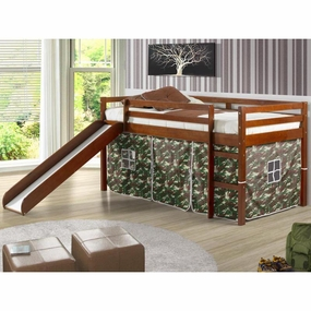 Twin Loft Bed with Slide and Camo Curtain in Light Espresso