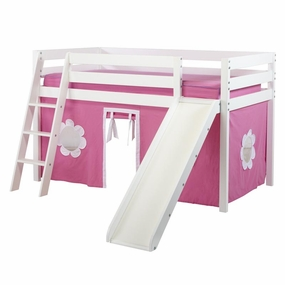 Jackpot Twin Loft Bed with Slide and Hot Pink/White Curtain