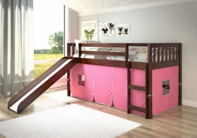 Twin Mission Loft Bed with Slide and Pink Curtain in Dark Cappuccino
