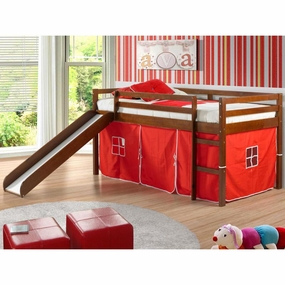 Twin Loft Bed with Slide and Red Curtain in Light Espresso