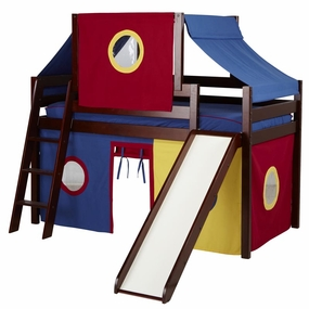 Jackpot Twin Loft Bed with Slide, Blue/Red/Yellow Curtain and Top Tent