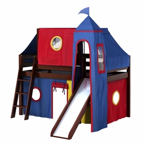 Jackpot Twin Loft Bed with Slide, Blue/Red/Yellow Curtain, Tower and Top Tent