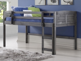 Twin Louver Low Loft Bed in Antique Grey