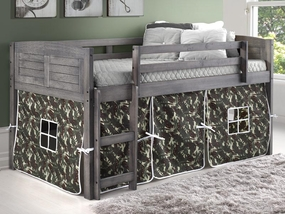 Twin Louver Low Loft Bed with Camo Curtain in Antique Grey