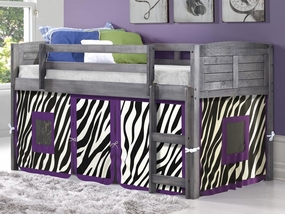 Twin Louver Low Loft Bed with Zebra Curtain in Antique Grey
