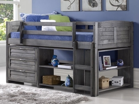 Twin Louver Modular Low Loft Bed Antique Grey - Combo B