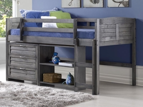 Twin Louver Modular Low Loft Bed Antique Grey - Combo C