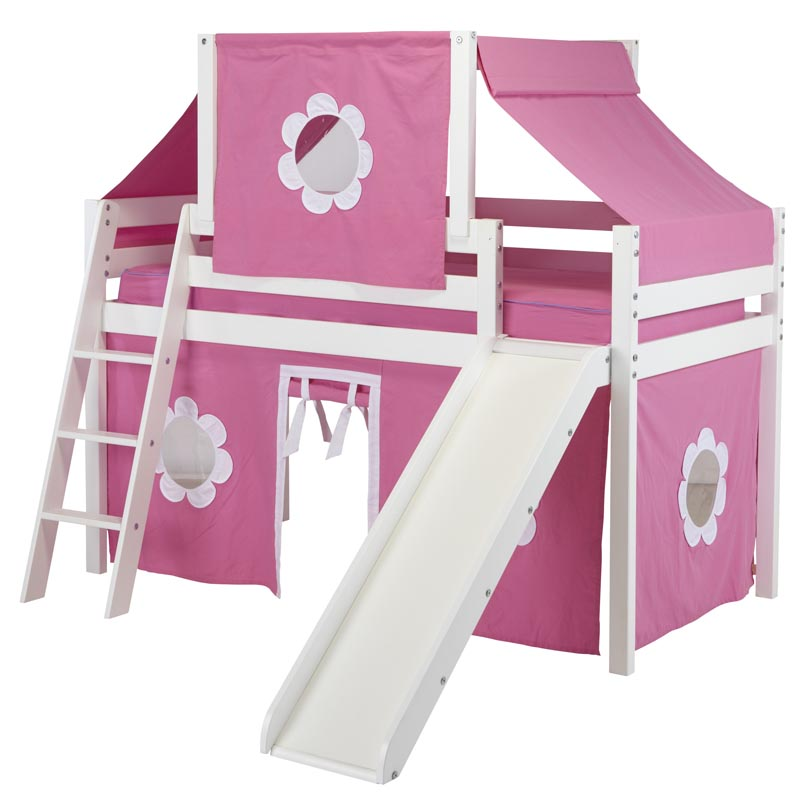 Low loft with slide hot pink white curtain and top tent loft beds
